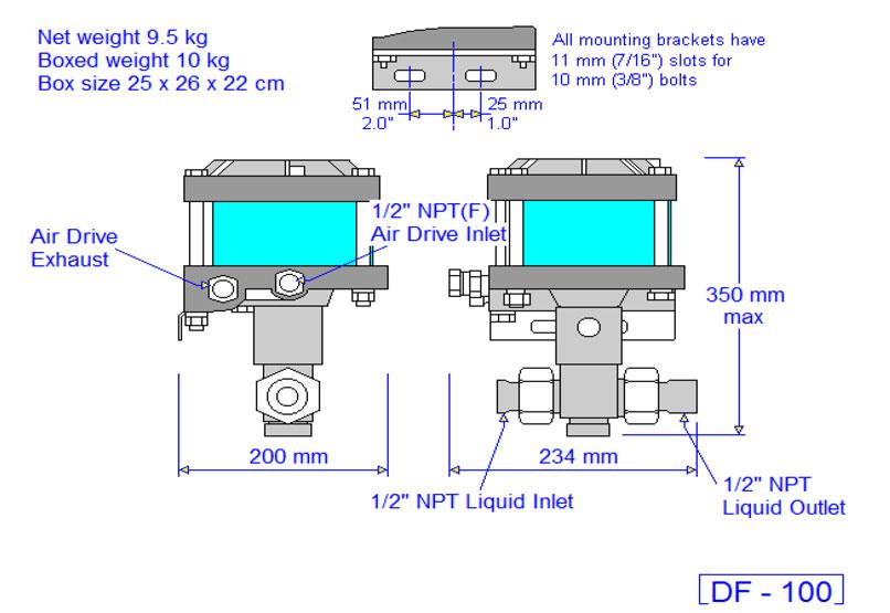 HD Tech - Produkte - Pumpen - DF-100 - Massblatt