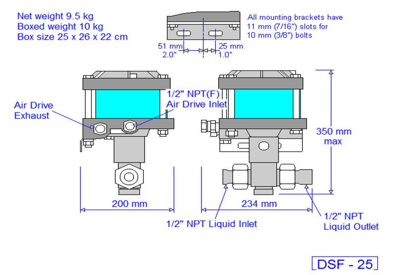 HD Tech - Produkte - Pumpen - DSF-25 - Massblatt