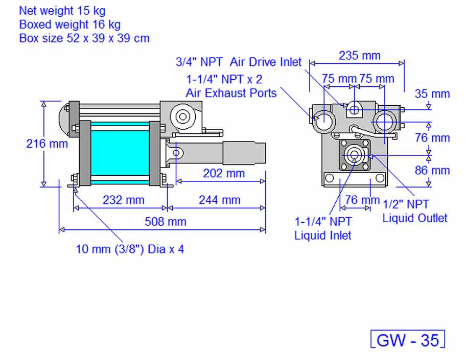 HD tech Produkte Pumpen GW-35 Massblatt
