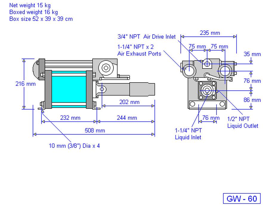 HD tech Produkte Pumpen GW-60 Massblatt