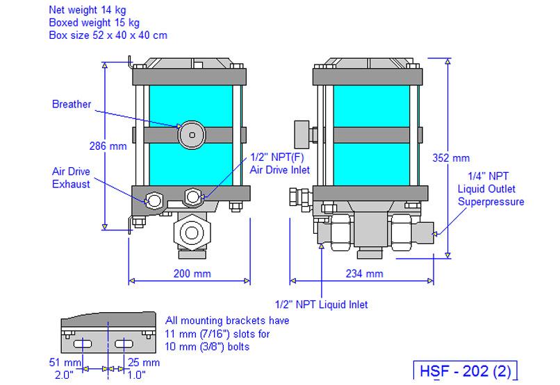 HD tech Produkte Pumpen HSF-202 Massblatt