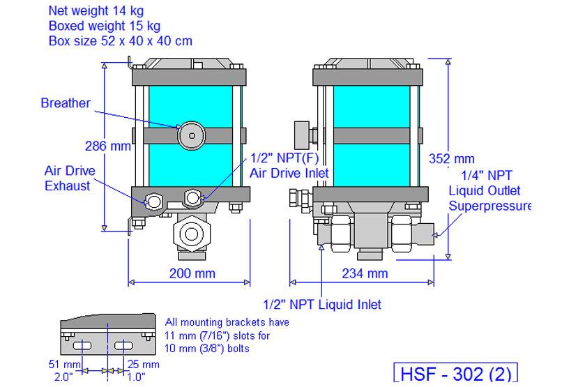 HD tech Produkte Pumpen HSF-302 Massblatt