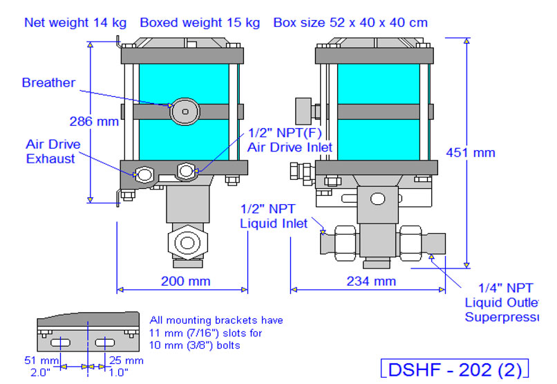 HD Tech - Produkte - Pumpen - DSHF-202 - Massblatt