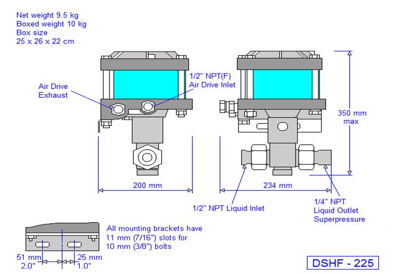 HD Tech - Produkte - Pumpen - DSHF-225 - Massblatt