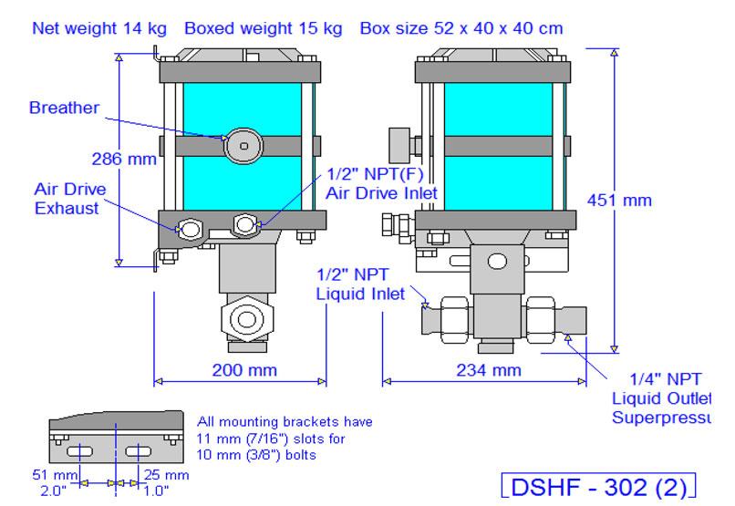 HD Tech - Produkte - Pumpen - DSHF-302 - Massblatt
