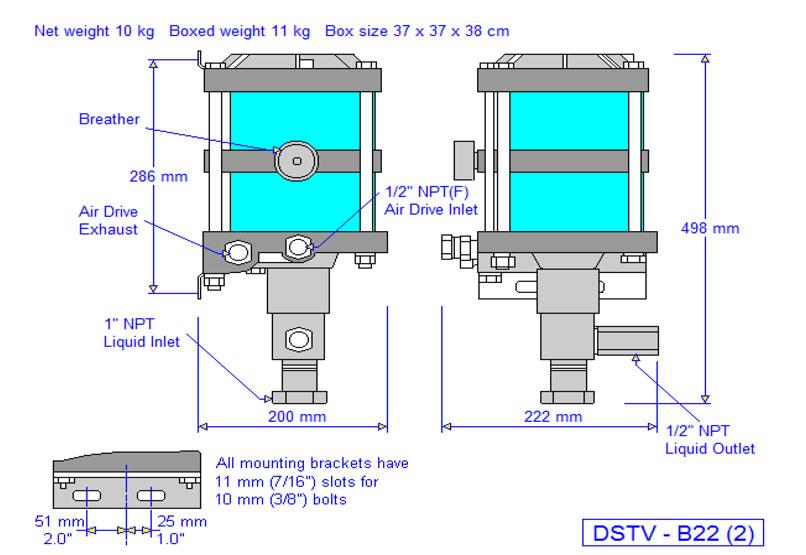 HD Tech - Produkte - Pumpen - DSTV-B22 - Massblatt