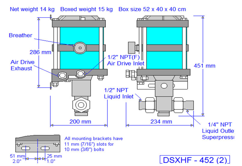 HD Tech - Produkte - Pumpen - DSXHF-452 - Massblatt